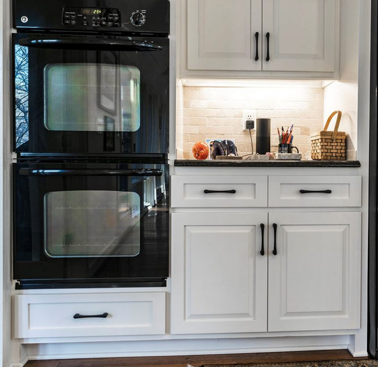 white cabinet refacing after